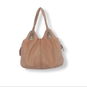 B Makowsky leather coral sand tote